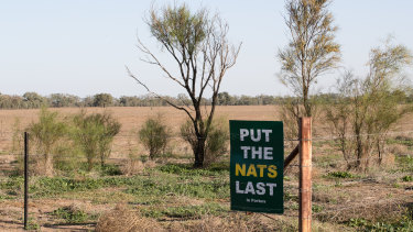 Election signs reflecting some disatisfaction with the Nationals Party near Coonamble, NSW.