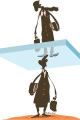The glass ceiling of gender inequity: women still on the bottom. Illustration: Matt Davidson