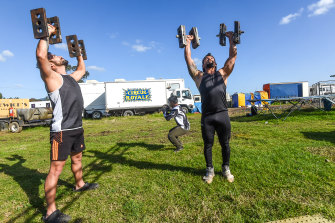 Highwire act brothers Sairus, Saret and Samir get in a spot of weight training