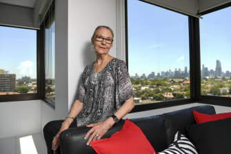 The view from here: Jan McDonald in her inner suburban flat.