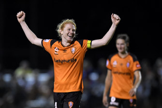 Brisbane Roar skipper and Matildas defender Clare Polkinghorne celebrates after their 6-0 win over Melbourne Victory.