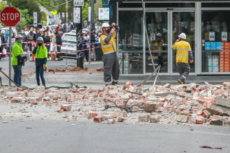 Buildings along Chapel Street in Melbourne were damaged in Wednesday's earthquake.