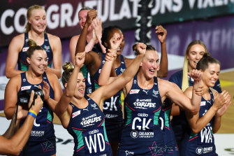 The Vixens celebrate their premiership.