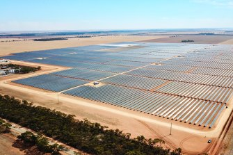 Gannawarra Solar Farm in western Victoria. Solar panel prices have dived 90 per cent over the past decade.