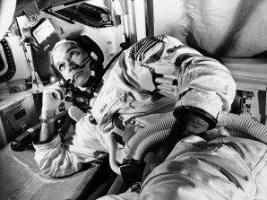 Apollo 11 command module pilot astronaut Michael Collins takes a break during training for the moon mission, in Cape Kennedy, Florida.