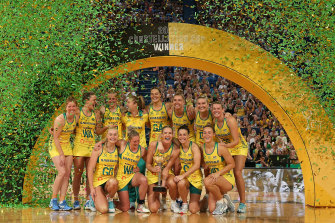 The Australian Diamonds celebrate with the Constellation Cup in 2019.