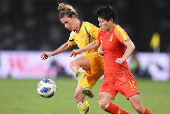 Elise Kellond-Knight was one of a number of Matildas players who coughed up turnovers under pressure from China.