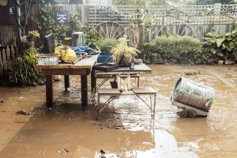 The storms brought floods to Traralgon, causing major damage to Les Davidson's home.