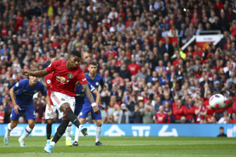 Manchester United's Marcus Rashford scores from the spot against Chelsea at Old Trafford on Sunday.