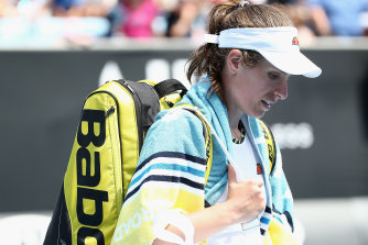 Johanna Konta leaves the court after her first-round loss to Ons Jabeur.