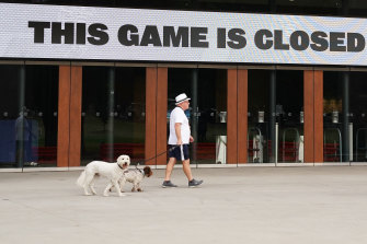 A sign of the times at the MCG.