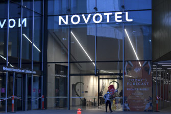 The main entrance of Novotel South Wharf.
