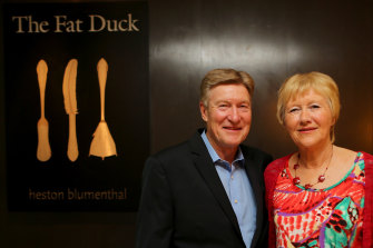 'Lucky' couple Roger and Pauline Copsey after the opening of Heston Blumenthal's Crown restaurant, then known as The Fat Duck, on February 3, 2015.