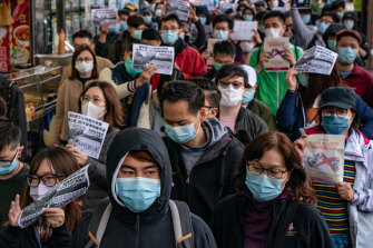 Residents protest in Hong Kong on February 2.