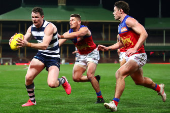 Star power: Patrick Dangerfield in action against the Lions in round six.