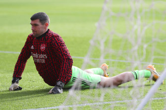 Socceroos star Mathew Ryan is waiting patiently for his chance at Arsenal, the club he grew up supporting in the EPL.