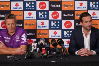 Melbourne Storm CEO Dave Donaghy, right, and club coach Craig Bellamy, left, at a press conference last month.