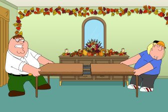Peter Griffin and son Chris in the Shanksgiving special episode of Family Guy.