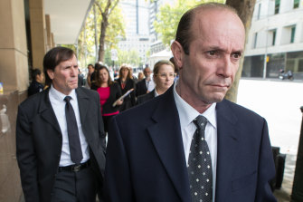 Brothers Chris (front) and Gerry Apostolatos outside court in 2015.