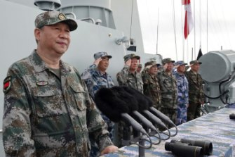 Chinese President Xi Jinping speaks after he reviewed the Chinese People's Liberation Army Navy fleet in the South China Sea in April last year.