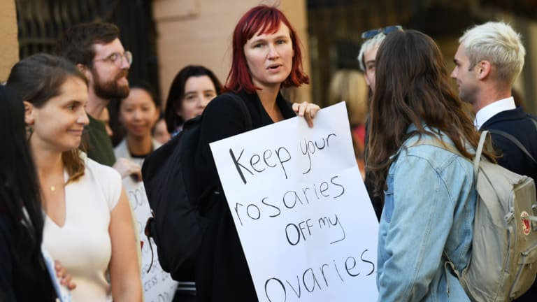 Demonstrators in favour of safe buffer-zones around NSW abortion clinics outside the the NSW parliament late last month.