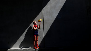 From round to oval: Shae Sloane has switched her role as Australian volleyball captain for the AFLW.