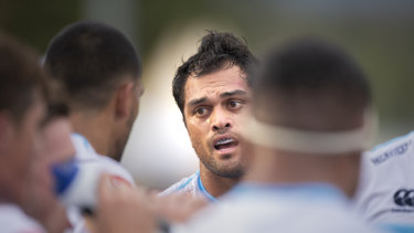 Solid: Karmichael Hunt was strong in defence despite the Waratahs falling to the Brumbies.