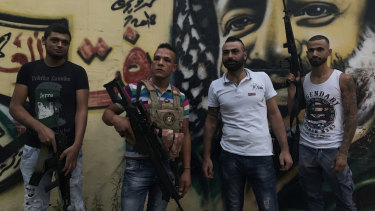 Fatah soldiers (L to R) Atui, Abu Raban, Obeida and Raleb in the Fatah area of Ain al-Hilweh.
