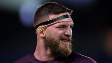Repeat offender: Josh McGuire tried to get under the Blues' skin at half-time on Wednesday night.