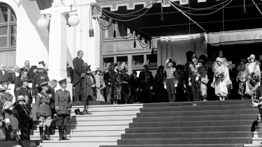 Prime Minister Stanley Bruce, left, and the Duke and Duchess of York, right, at the inauguration.