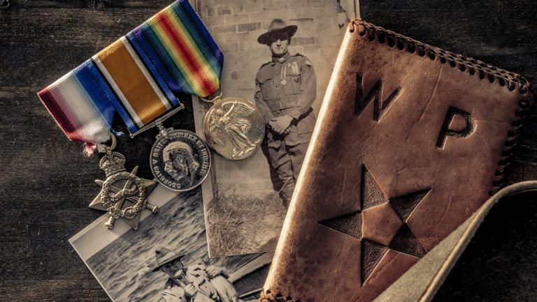 Photos and medals of Rod Harris's great-grandfather, Corporal William Fletcher Davies.