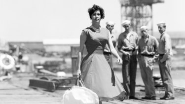 Ava Gardner on location at Gellibrand Pier, Williamstown.