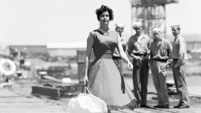 Ava Gardner on location at Gellibrand Pier, Williamstown.