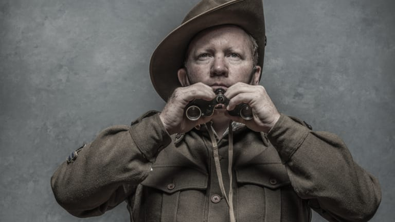 """James Downey, a member of Sydney's 18th Battalion Living History Group: """"I really enjoy teaching the history,"""" he says."""