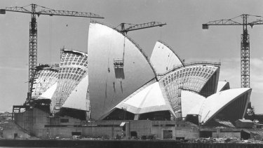 The Sydney Opera House under construction in 1967.