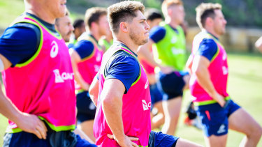 One of the boys again: James O'Connor trains with Wallabies hopefuls in Brisbane on Wednesday.