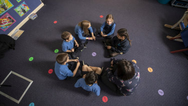 Woollahra Public School students in their classroom. The school is working out its own method of teaching creative thinking.