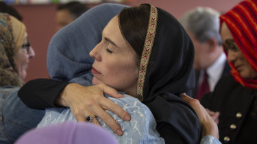 New Zealand Prime Minister Jacinda Ardern meets with members of the Christchurch Muslim community after Friday's horrific attack.