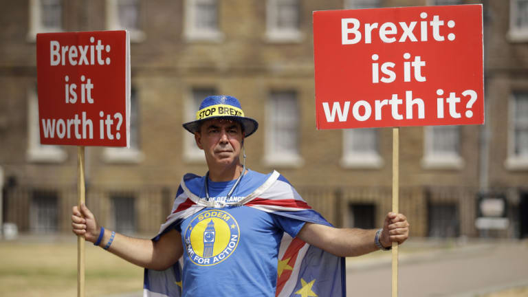 Anti-Brexit activist Steve Bray protests across the road from British Parliament.