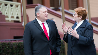 Mike Pompeo and Minister Marise Payne chat outside state Parliament in Sydney.