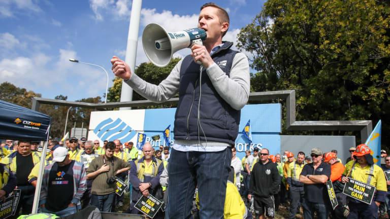 Union secretary Daniel Walton addresses the striking workers at BlueScope Port Kembla.