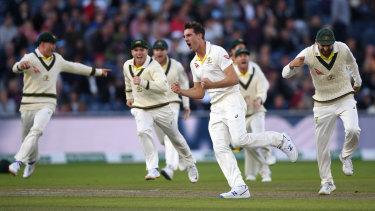 Pat Cummins celebrates dismissing England captain Joe Root during the fourth Test.