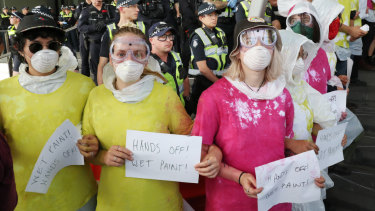 Protesters attempted to blockade the International Mining and Resources Conference in Melbourne last week.