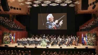 Video of Bob Hawke shown during his memorial on Friday.