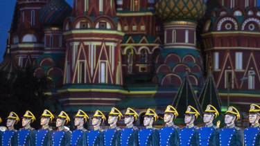 Members of the Russian Honour Guard of the Presidential Regiment rehearse for a military music festival earlier this month.