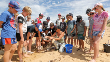 Colleen Hughson (centre) demonstrates how to collect nurdles to grade 6 students from Terang College.