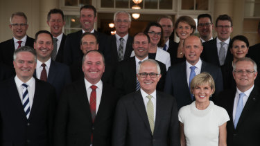 Malcolm Turnbull's ministry: Of its 30 member, there is no one who has a non-European background, and one who has an Indigenous background.