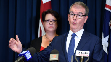 Penny Sharpe and Michael Daley at a media conference on Monday after Labor's election loss.