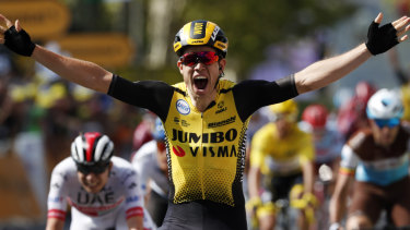 Belgium's Wout Van Aert crossed the finish line first in the tenth stage of the Tour de France.