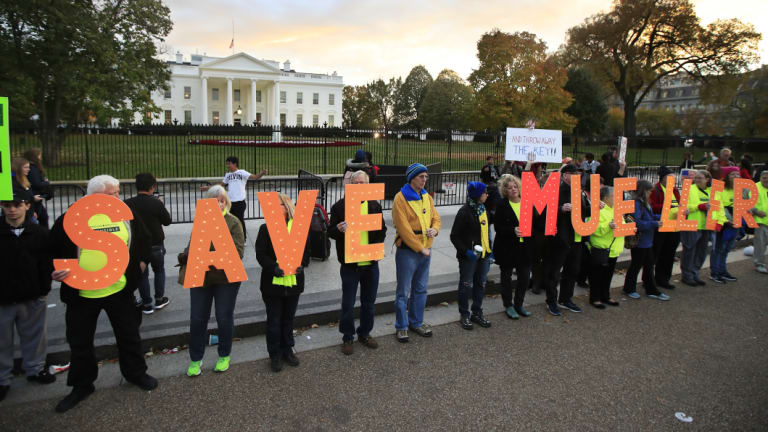 Protesters gather in front of the White House in Washington.